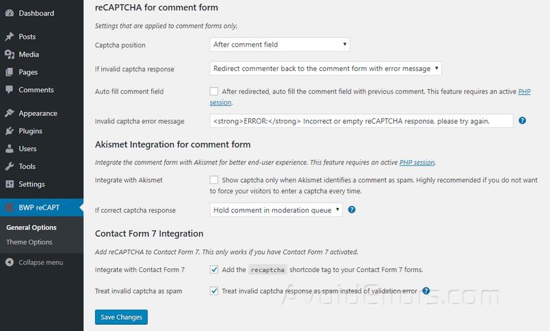 BWP reCAPT comment settings