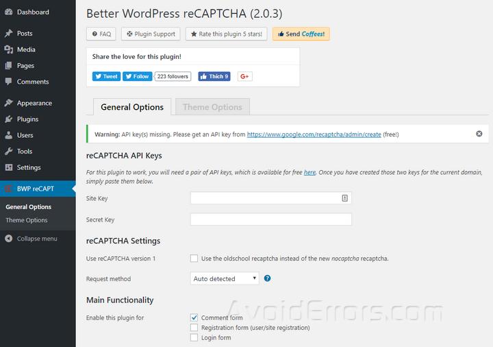 BWP reCAPT settings