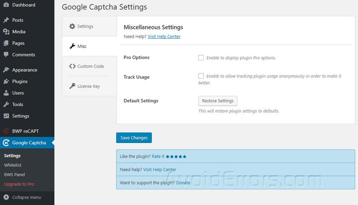 Google Captcha other settings