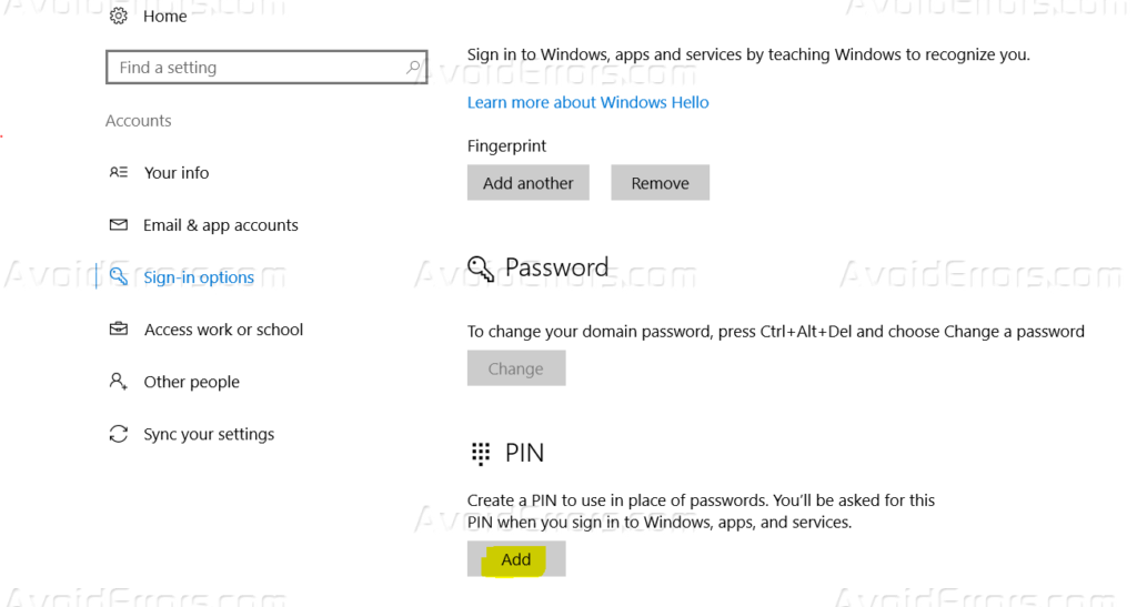 How to Enable PIN Login and Fingerprint in Windows 10 - AvoidErrors