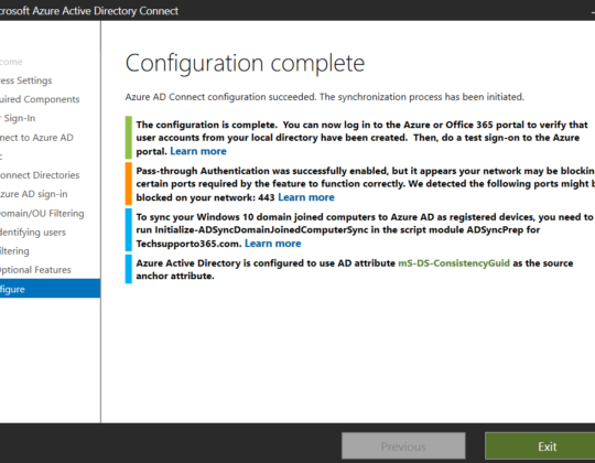 Enable Pass-through Authentication in office 365 Managed Identity