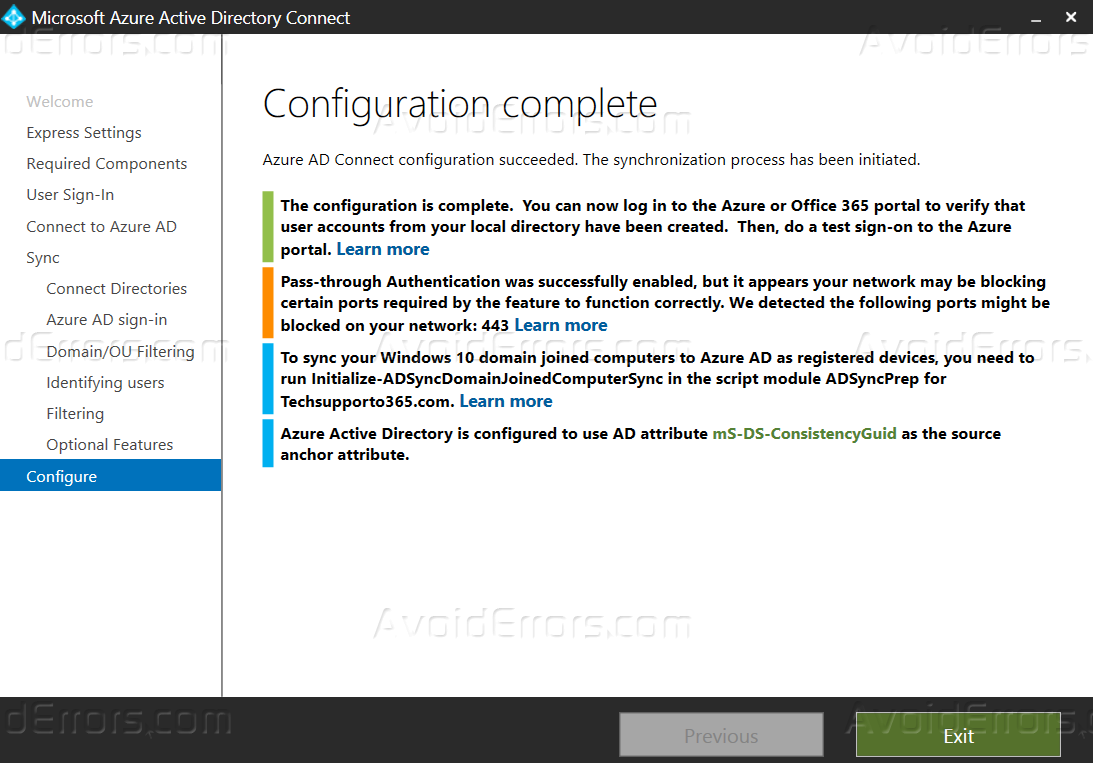 Enable Pass-through Authentication in office 365 Managed