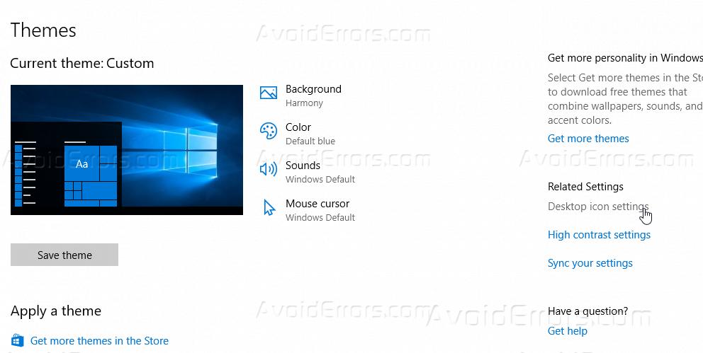 Show Desktop Icons in Windows 10 - AvoidErrors