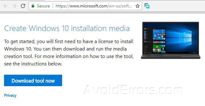 windows 10 bootable media using media creation tool