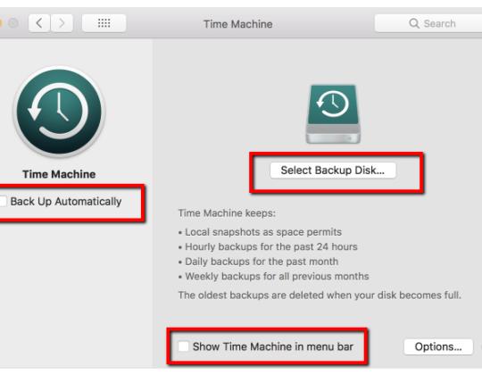 Set up Time Machine on a Mac to make Regular backups