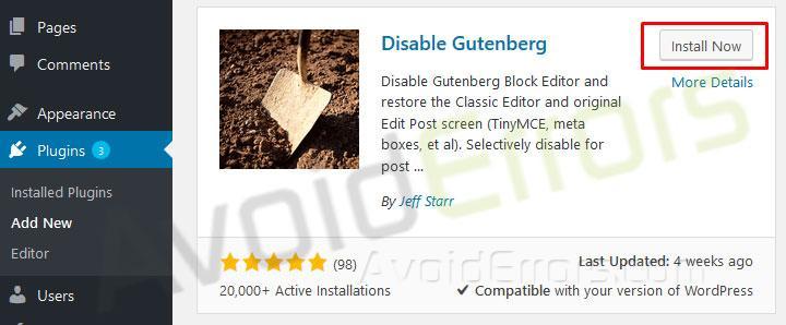 Return to the Classic WordPress Editor 3
