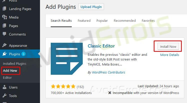 Return to the Classic WordPress Editor 4
