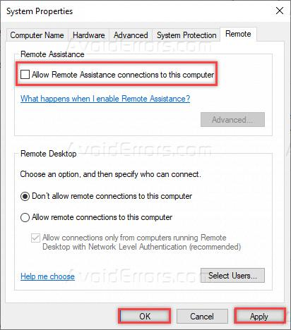 Disable Remote Assistance in Windows 10 - AvoidErrors