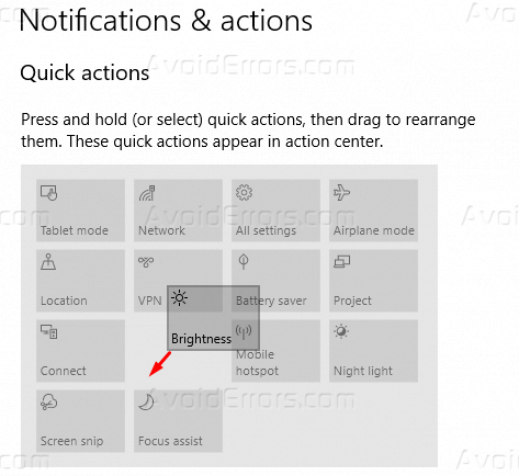 How to Edit Quick Actions in Windows 10 - AvoidErrors