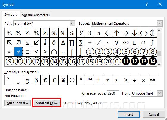 Cách chèn Biểu tượng bằng Phím tắt trong MS Word 2016