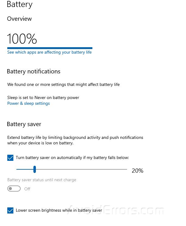 Thủ thuật tiết kiệm Pin trong Windows 10