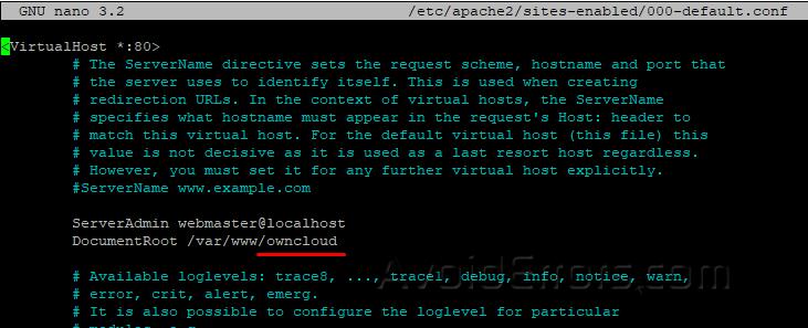 Apache default site configuration file