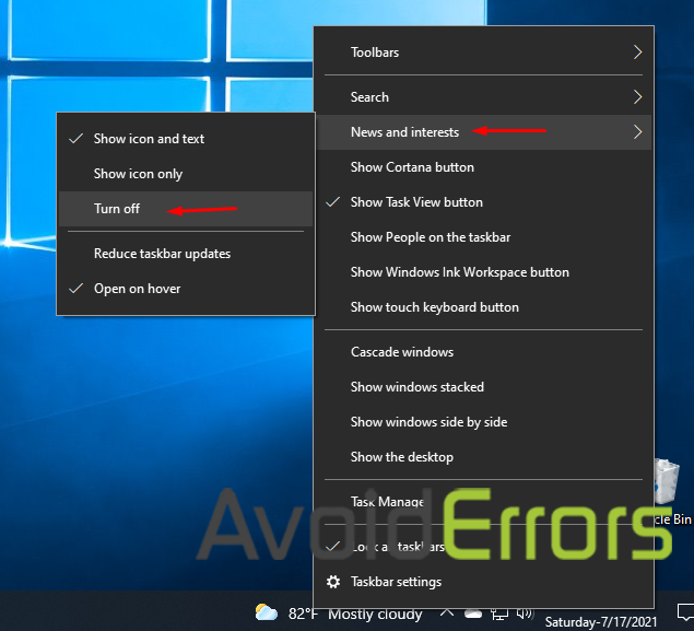 How to Disable the News and Interests Widget on the Windows 10 Taskba 1 copy