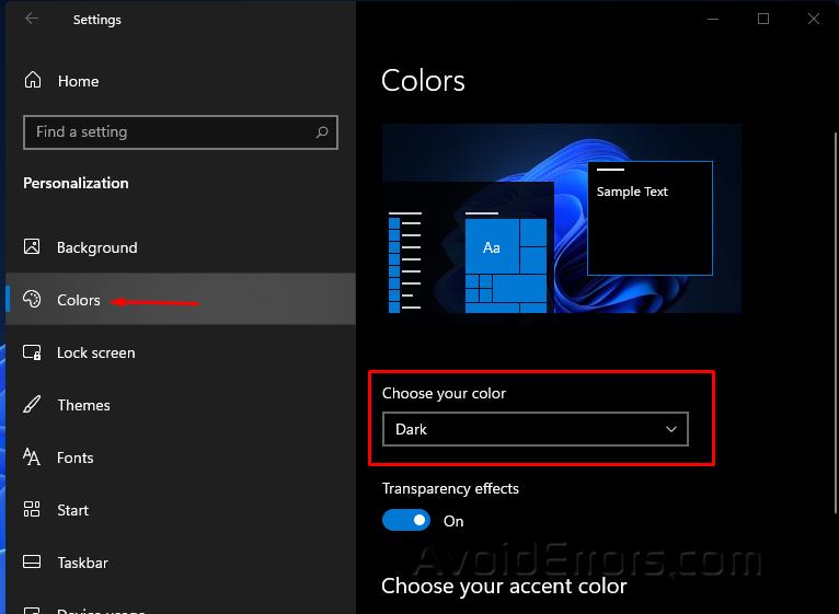Enable Dark Mode on Windows 11 22