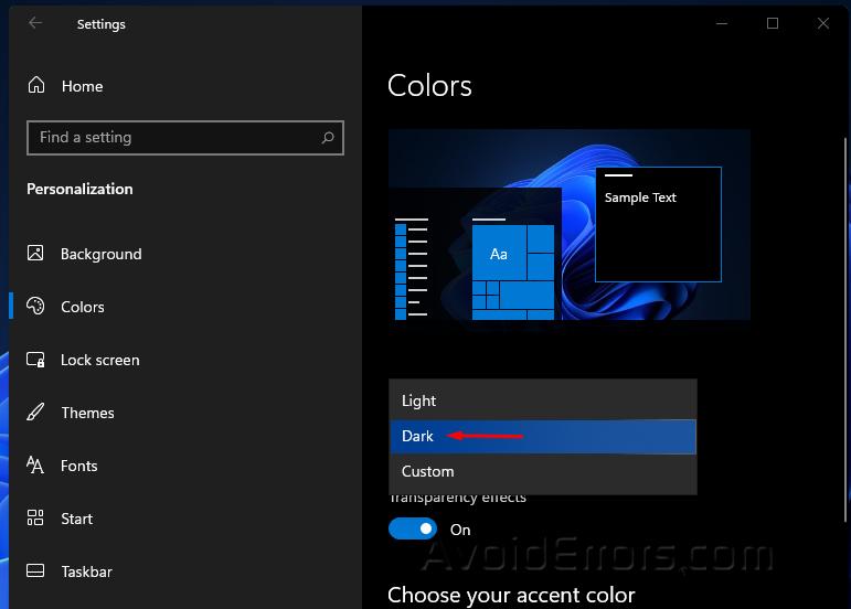 Enable Dark Mode on Windows 11 3