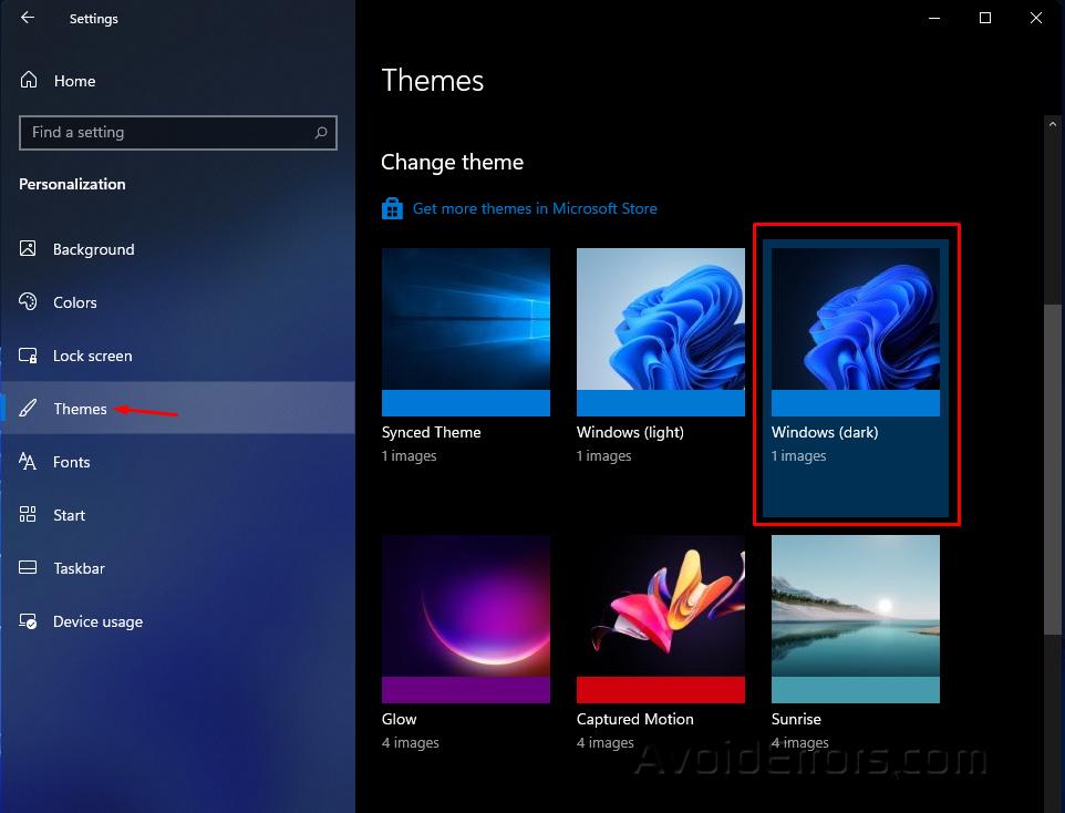 Enable Dark Mode on Windows 11 4